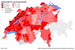 Social Democratic Party of Switzerland - Percentages of the SP at district level in 2011