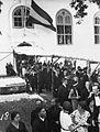 COLLECTIE TROPENMUSEUM Het uitgaan van de Portugese Buitenkerk aan de Jacatraweg in Batavia na de dienst ter gelegenheid van het overlijden van Koningin-moeder Emma op 20 maart TMnr 60027467.jpg