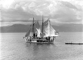Sailing ship in which the administrator travel...