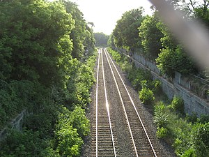 Locke Street (Hamilton, Ontario) - Canadian Pacific Railway, view from overpass bridge, Locke Street South
