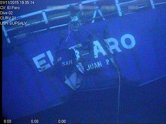 SS El Faro - A Navy screen capture showing the stern of El Faro.