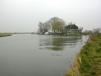 Mündung des Cam (links) in die Great Ouse