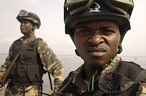 Cameroonian Armed Forces - Cameroonian navy sailors prepare to perform a visit, board, search and seizure drill on 21 November 2006 in Douala during a joint exercise with the US military.
