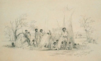 Bundjalung - Camp at Gladfield,  A Pencil drawing by Martens, Conrad (1801–78) dated Dec. 29th 1851 -  19.1 x 31.1cm held in the Mitchell Library, State Library of New South Wales