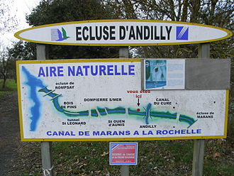 Andilly, Charente-Maritime - Plan of canal at Andilly locks