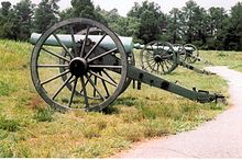 Three antiquated cannons in a row in a grassy field
