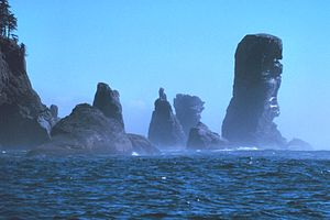 Cape Flattery - Fuca Pillar at Cape Flattery, the northwest extremity of the Olympic Peninsula