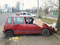 Car wreck, Poznan, Tesco Serbska