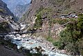 Caravan crossing a hanging bridge - Annapurna Circuit, Nepal - panoramio.jpg