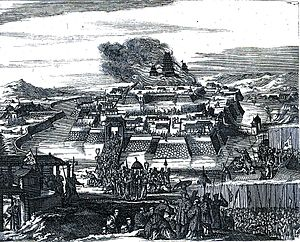 "François Caron - Illustration of the Siege of Osaka, from Caron's book:  ""The Burning of Osaka Castle"""