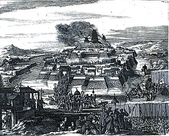 "Siege of Osaka - Illustration from François Caron's book:  ""The Burning of Osaka Castle"""