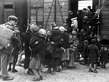 Deportees with yellow stars, mainly women and children, climb down from a boxcar
