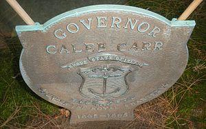 Caleb Carr (governor) - Governor Caleb Carr grave medallion