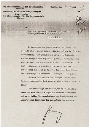 July 1941 letter from Göring to Heydrich conce...