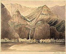 Художественная визуализация высокого узкого водопада, спускающегося по ряду вертикальных или почти вертикальных скал в большую реку. Горы, в основном лишенные растительности, возвышаются по обе стороны от водопада и соединяются с горным хребтом на заднем плане.