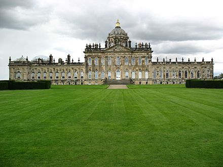"Castle Howard, in Yorkshire, was used to represent ""Brideshead"" in the 1982 television series and in a subsequent 2008 film. Castle Howard, Yorkshire.jpg"