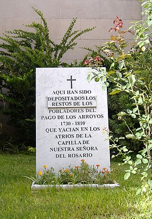 History of Rosario - A plaque showing the resting place of the ancient settlers, beside the Cathedral.