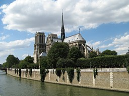 Cathedral of Notre Dame in Paris seen from southeast