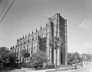 Cathedral of Saint John the Baptist (Charleston, South Carolina) -  Cathedral without a steeple as it stood for nearly one hundred years