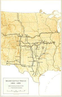 Great Western Cattle Trail Wikipedia - Chisholm trail map