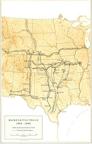 Great Western Cattle Trail - Map of major cattle trails with the Great Western Trail.