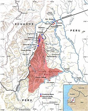 Cenepa War - Ecuadorian and Peruvian military outposts in the Cenepa valley, January 1995