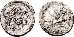 Marcia (gens) - Denarius of Gaius Marcius Censorinus, depicting Numa Pompilius and Ancus Marcius, with a desultor on the reverse.