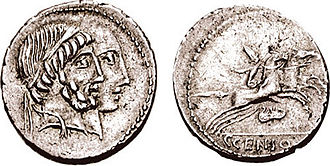 Marcia (gens) - Denarius of Gaius Marcius Censorinus minted in 88 BC, depicting Numa Pompilius and Ancus Marcius, with a desultor on the reverse.