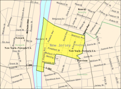 Census Bureau map of East Newark, New Jersey