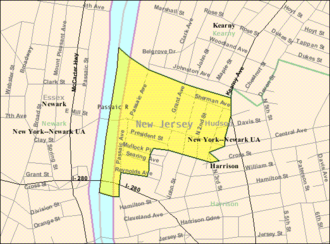 East Newark, New Jersey - Image: Census Bureau map of East Newark, New Jersey