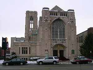 North End, Detroit - Little Rock Baptist (formerly Central Woodward) Church, a historic building on the western boundary of the North End