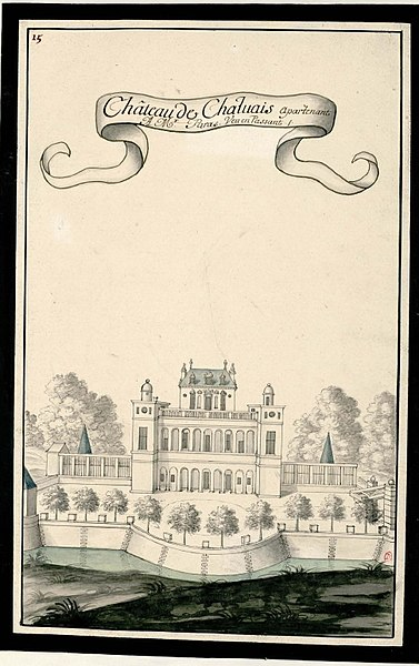 Drawing of the castle of Chailvet (France, Aisne)