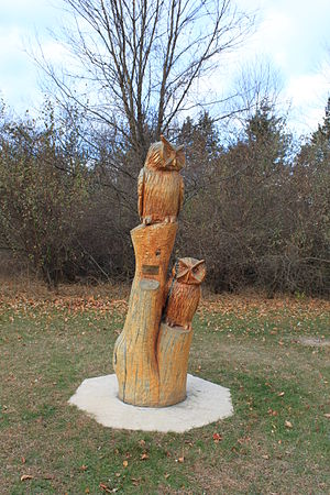 Chainsaw carving - Image: Chainsaw carving of owls Brighton Recreation Area Michigan