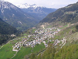 An aerial view of Champagny-en-Vanoise