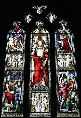 Lord Frederick Cavendish - Image: Chapel window by Hardman at St Peter's Church, Edensor