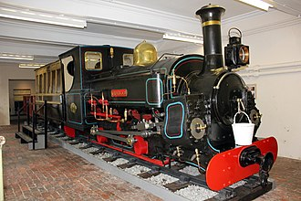 Penrhyn Quarry Railway - Main line locomotive Charles with Lord Penrhyn's saloon at the Penrhyn Castle Railway Museum