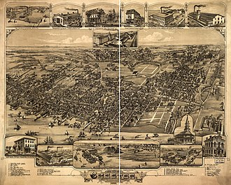 Chester, Pennsylvania - Bird's-eye view of Chester in 1885