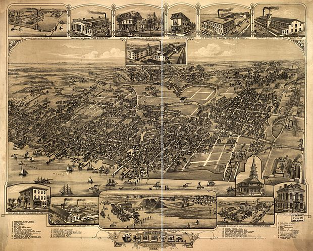 Bird's-eye view of Chester in 1885 Chester PA BEye View 1885.jpg