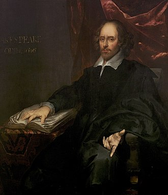 "Chandos portrait - The ""Chesterfield Portrait"" of Shakespeare."