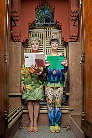 Chicks on Speed - Alex Murray-Leslie and Melissa Logan, portrayed in a Gaudi building in Barcelona in 2009