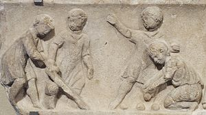 Child - Children playing ball games, Roman artwork, 2nd century AD