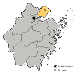 Location of Jiaxing City jurisdiction in Zhejiang