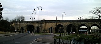 Chippenham - Brunel's railway viaduct with High Street to rear
