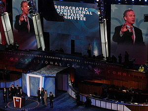 Democratic Congressional Campaign Committee - Chris Van Hollen, flanked by Democratic House challengers, speaks during the second day of the 2008 Democratic National Convention in Denver, Colorado, in his capacity as chair of the DCCC.