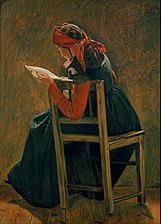 Christen Dalsgaard - A young girl frem Salling reading. Study. - Google Art Project.jpg