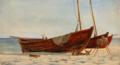 Christian Blache - Strandparti fra Skagen med optrukne fiskerbåde - 1869.png
