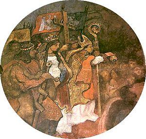 Andrzej Jastrzębiec - Fresco displaying Andrzej during the Christianization of Lithuania