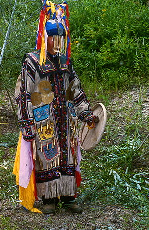 Shamanism in Siberia - This is a photo of Chuonnasuan (1927–2000), the last shaman of the Oroqen people, taken by Richard Noll in July 1994 in Manchuria near the Amur River border between the People's Republic of China and Russia (Siberia). Oroqen shamanism is now extinct.