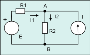 Hypergraph - This circuit diagram can be interpreted as a drawing of a hypergraph in which four vertices (depicted as white rectangles and disks) are connected by three hyperedges drawn as trees.