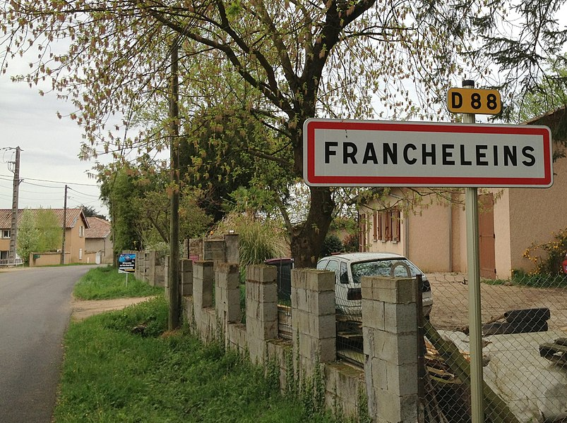 City limit sign  Francheleins (Ain).